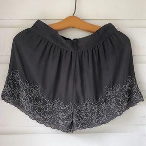 Kimchi Blue Slate High Waist Beaded Shorts